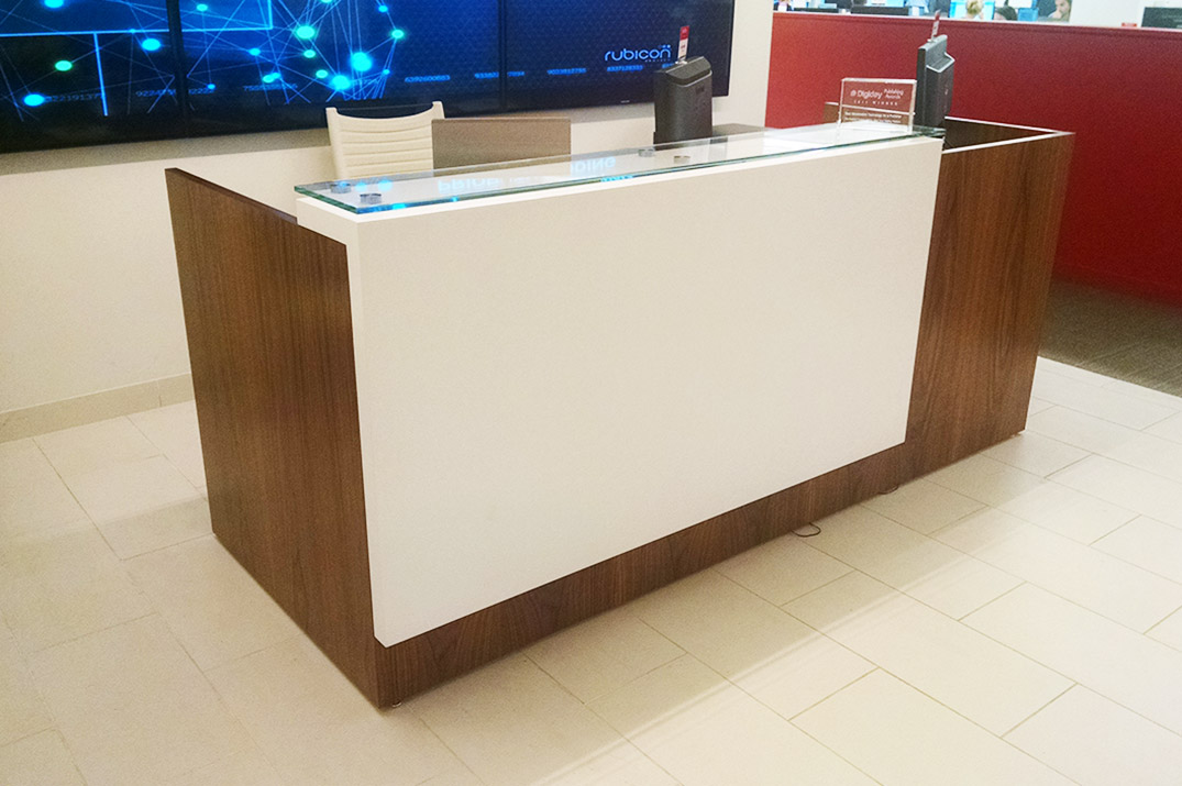 Konnect custom waterfall reception desk