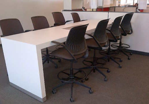 White Colorcore Parsons Table With Metal Toe Kick And Power/data  Capabilities.