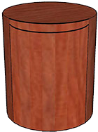 Storage Cylinder with Door, Wood Veneer Top & Base