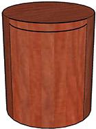 Storage Cylinder with Door, Wood Veneer Top & Base