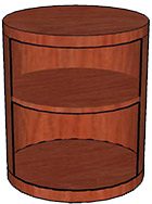 Open Storage Cylinder, Wood Veneer Top & Base One Adjustable Shelf