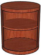 Open Storage Cylinder, Wood Veneer Top & Base One Adjustable Shelf