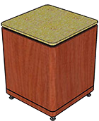 "Stone Top with Bullnose Edge, Black Recessed Band (3/4"" Thick), Kerf Cut (1/8"" Thick), Leg Style 1"