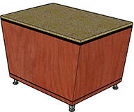 "Stone Top with Flat Edge, Black Recessed Band (3/4"" Thick), Kerf Cut (1/8"" Thick), Leg Style 1"
