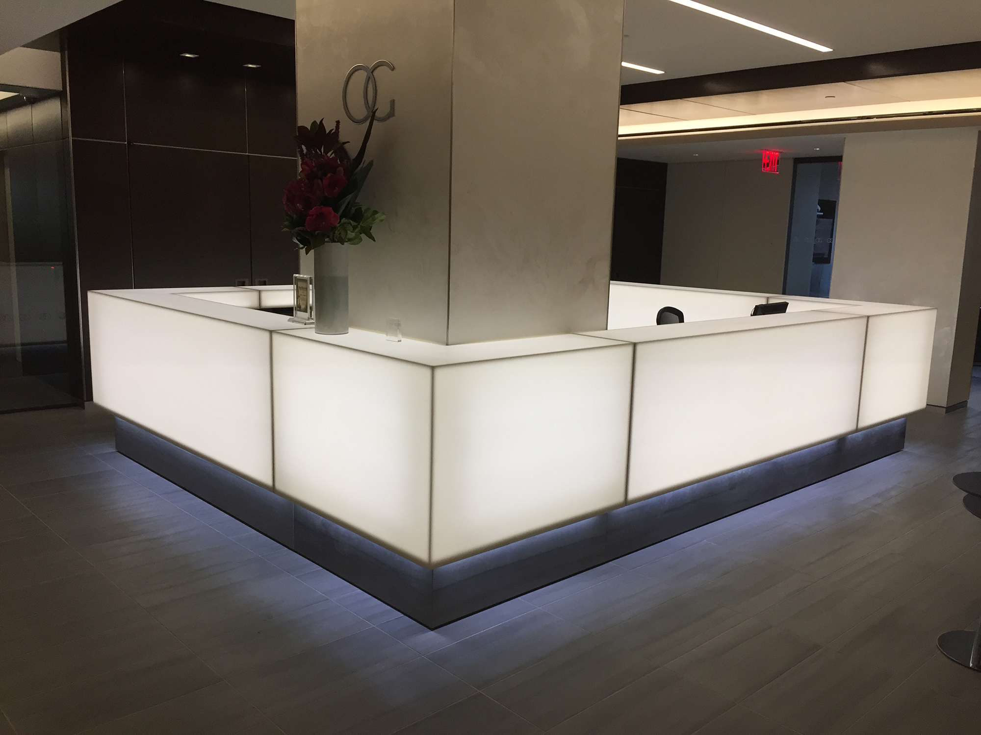 Back-lit corian reception desk