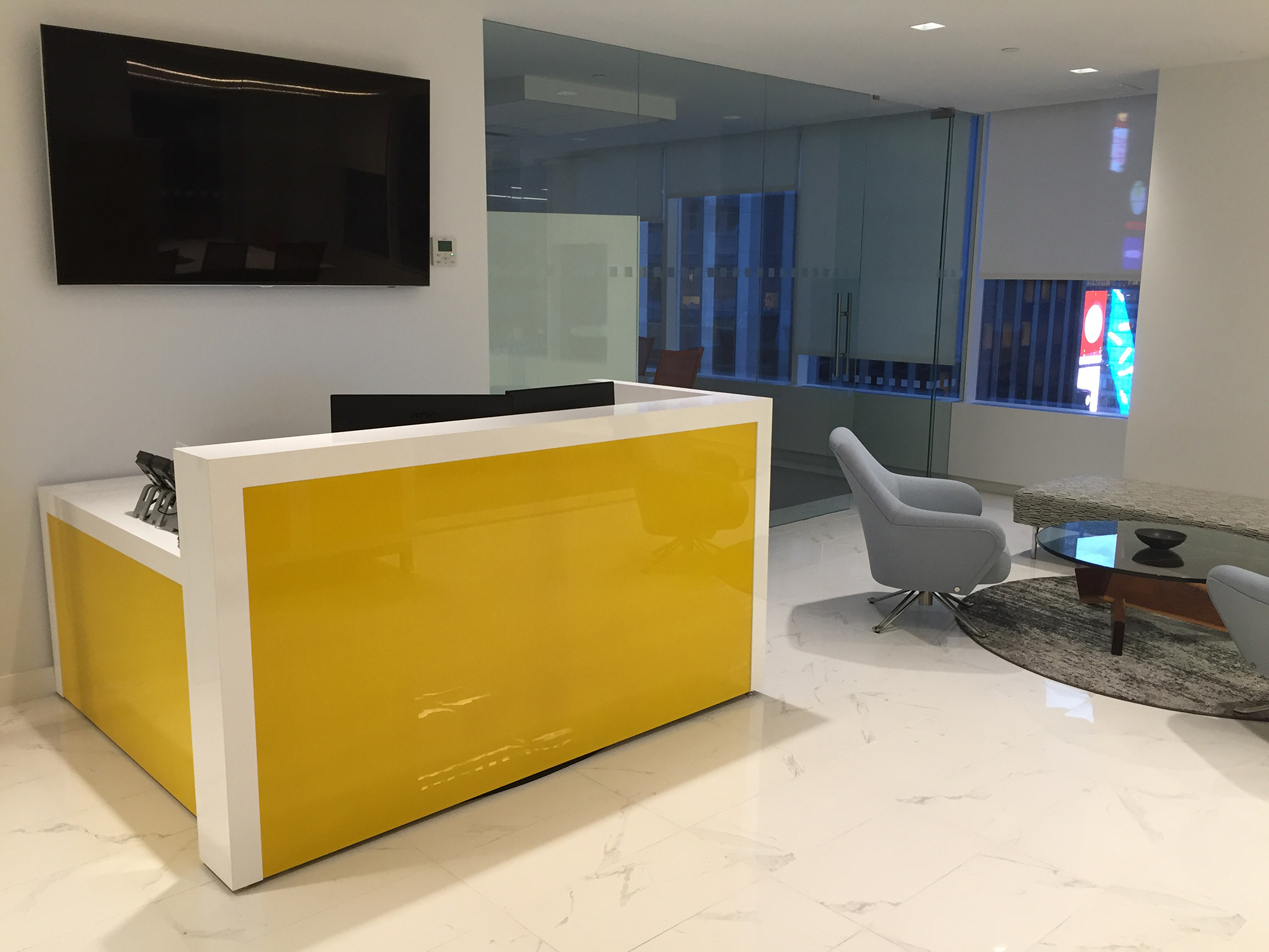 Back-painted glass reception desk