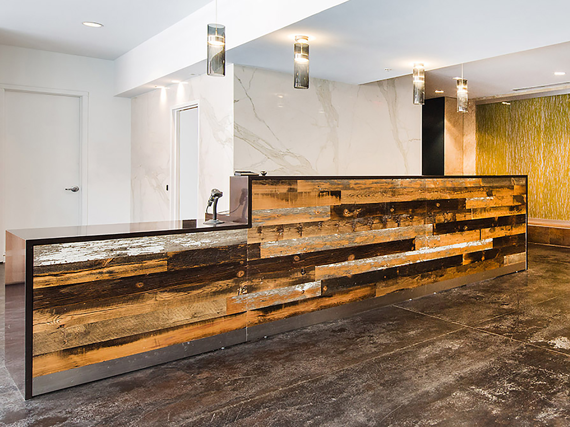 Reclaimed wood reception desk