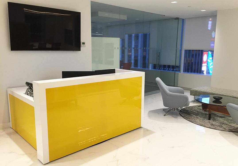 yellow office worktop marble office furniture corian. Exellent Corian Yellow Back Painted Glass Reception Desk And Office Worktop Marble Furniture Corian