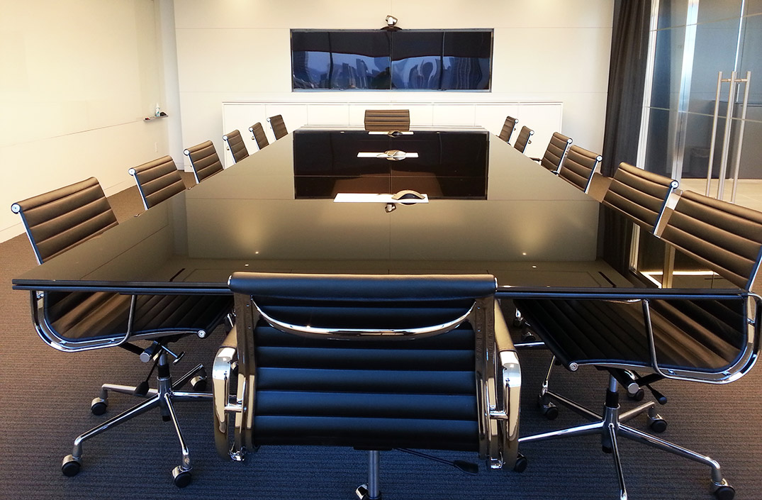 Glass Top Arnold Contract - Black glass conference table