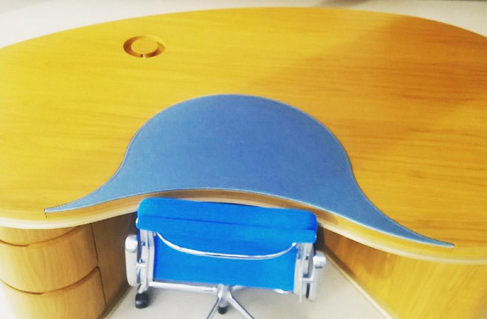 Blue leather accent desk