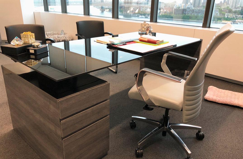 Glass and high gloss desk