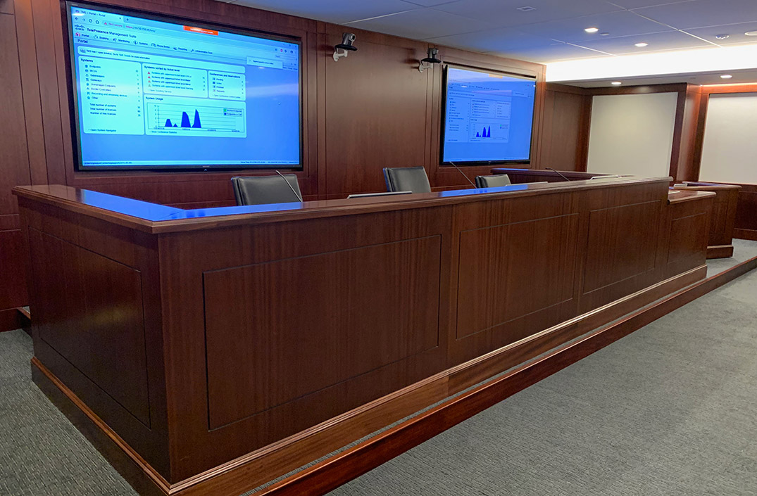 Traditional law firm courtroom
