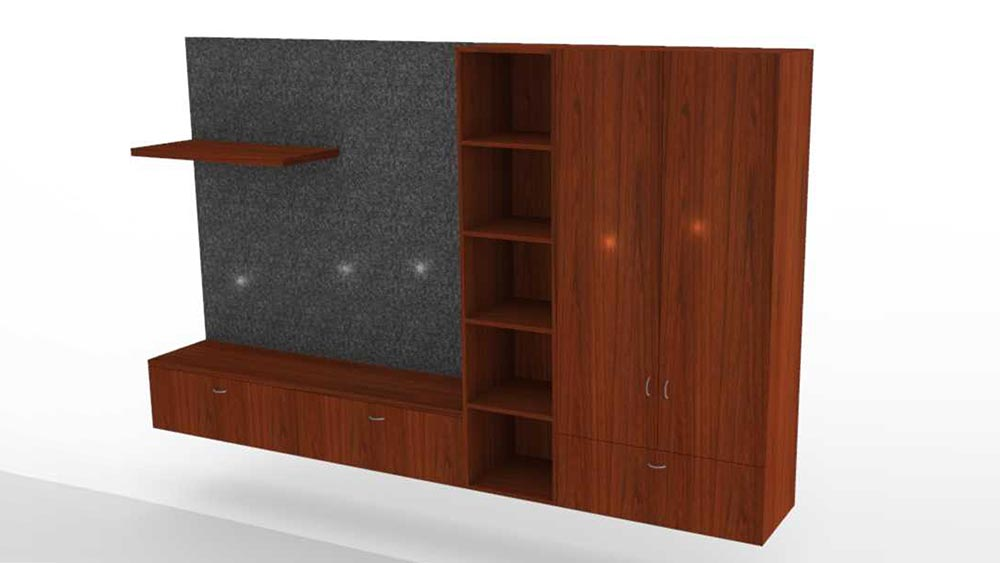 Wall Unit with Floating Shelf