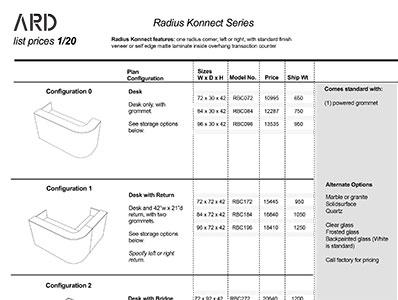 Radius Konnect 2020 Spec Guide