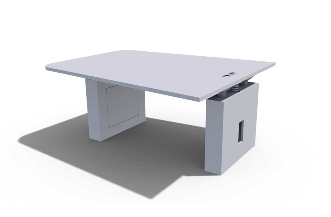 Konnect Casegoods Table Against Wall