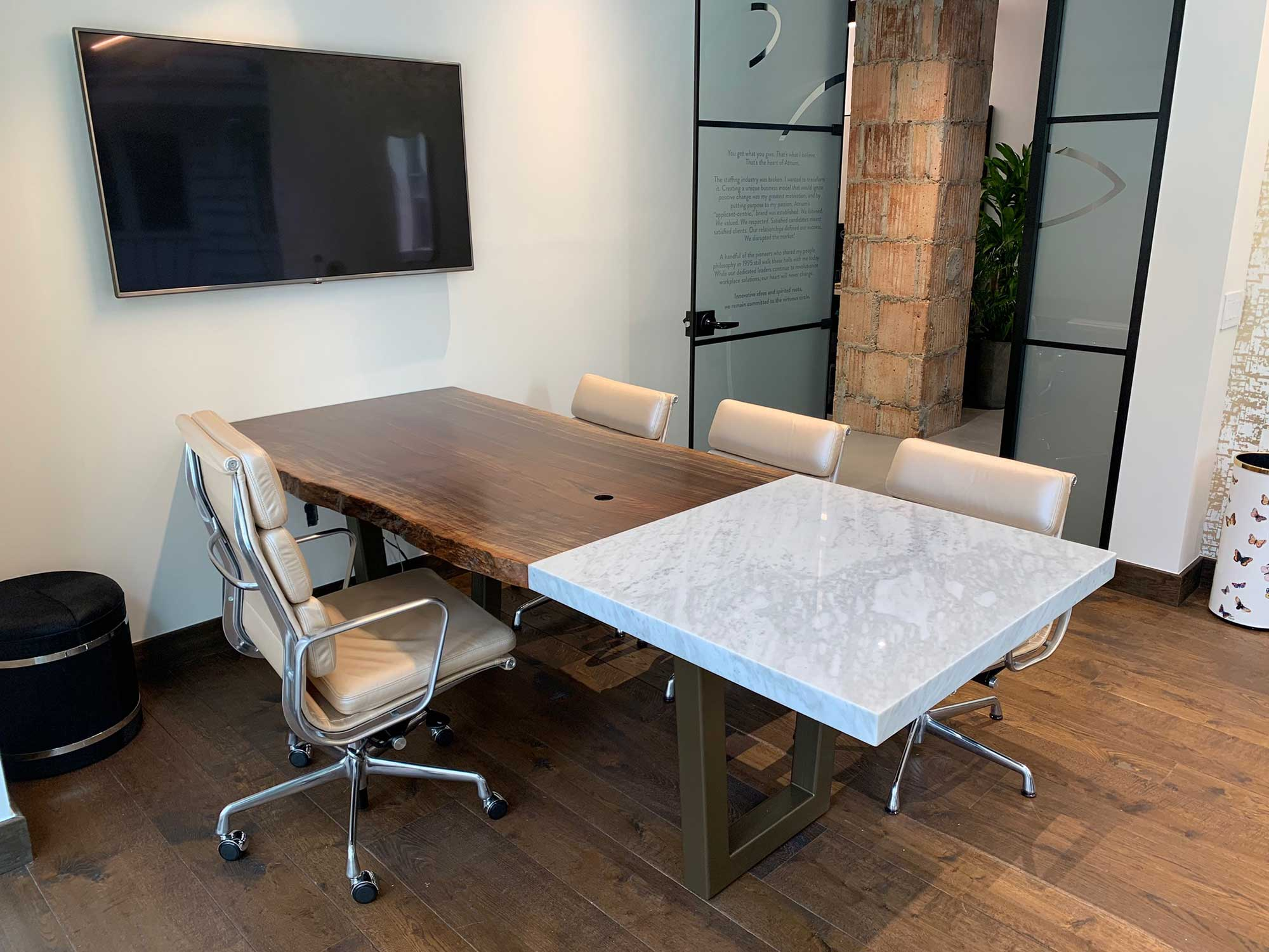 Live edge and stone top meeting table